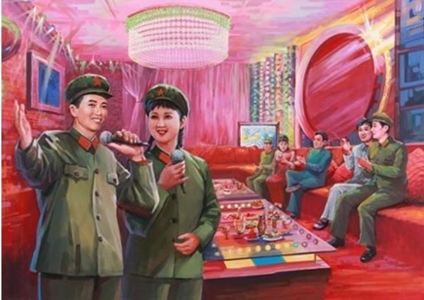 北韓畫家筆下的中國 KTV:離題萬丈。 圖片來源:微博