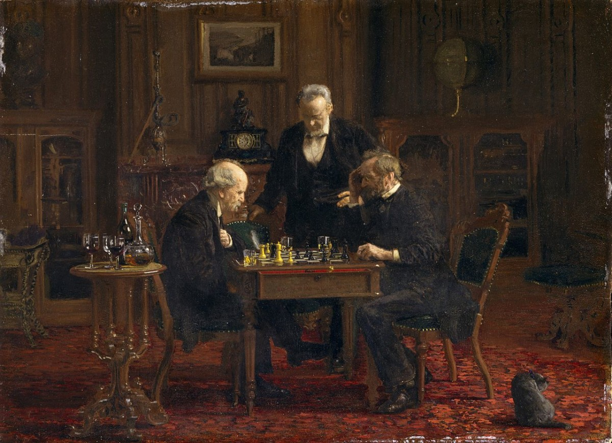 鍍金時代畫家 Thomas Eakins 1876 年畫作 「The Chess Players」。圖片來源:維基百科