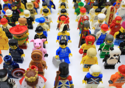 Hong Kong  - March 5, 2015:  lego mini characters  which are isolated on white. Lego minifigure are the successful line in Lego products
