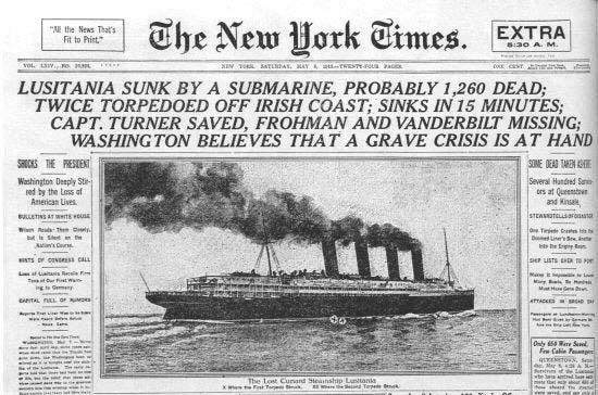 1917 年,德國攻擊美國客船「路西坦尼亞號」,結果觸發美國加入一戰。