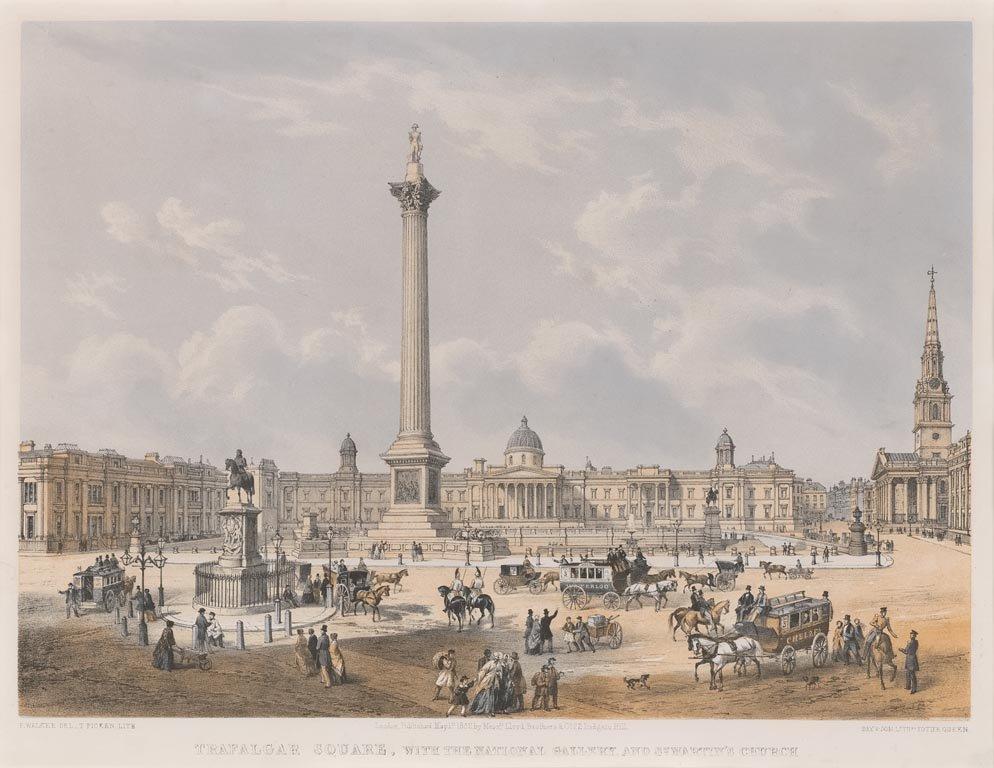 1814 年的特拉法加廣場。 圖片來源:Wikipedia Commons