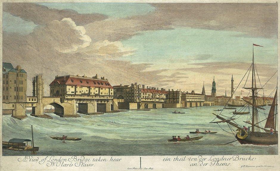 1750 年的倫敦橋。 圖片來源:Wikipedia Commons
