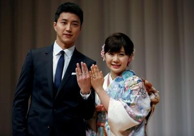 日本乒壇女將福原愛與台灣球手江宏傑近月成婚。 圖片來源:路透社