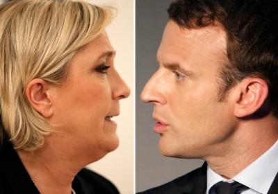 法國大選首輪投票,由馬克宏及馬琳勒龐勝出。 圖片來源:路透社