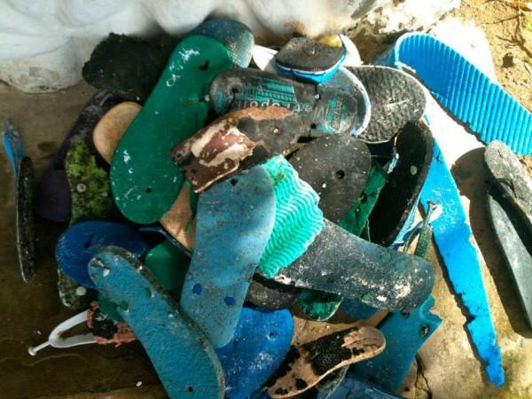 在肯尼亞的 Watamu 海灘,不用半小時就拾獲如此多破爛的人字拖。圖片來源:Ocean Sole/Facebook