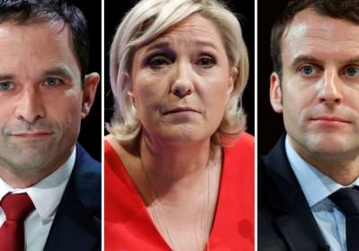 5 位法國總統參選人代表:(左起)菲永、哈蒙、馬琳勒龐、馬克宏、梅朗雄。 圖片來源:路透社