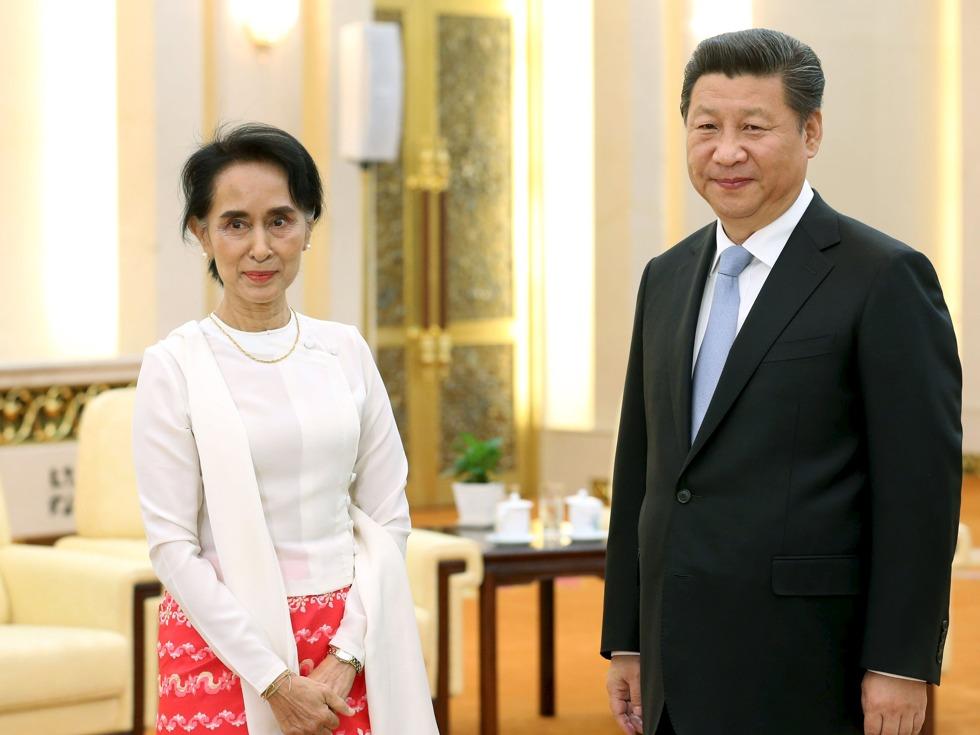 昂山素姬訪華時在北京人民大會堂與習近平會面。 圖片來源:路透社