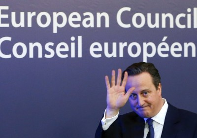 "British Prime Minister David Cameron waves as he leaves a European Union leaders summit in Brussels February 20, 2016. Cameron said on Friday he would campaign with all his ""heart and soul"" for Britain to stay in the European Union after he won a deal about the so-called Brexit, in Brussels which offered his country ""special status"". REUTERS/Yves Herman"
