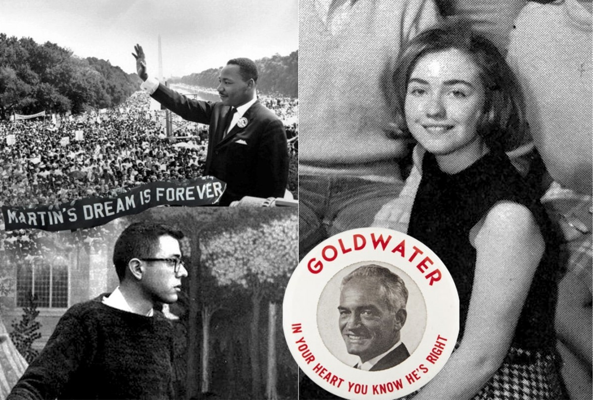 希拉莉邀請黑人民運領袖站台,質疑桑德斯(左)的民運紀錄,卻被爆曾支持承諾種族隔離政策的共和黨候選人 Barry Goldwater。