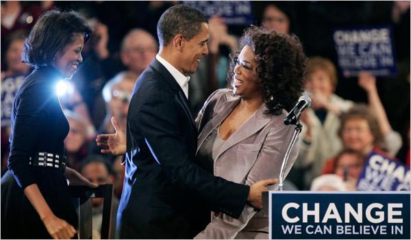 Oprah Winfrey 為奧巴馬站台,以她的影響力大力拉票。圖片來源:路透社