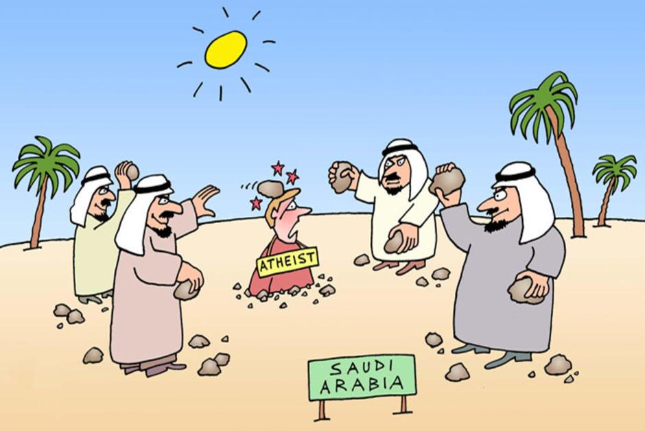 在沙特,無神論者隨時被處以極刑。 圖片來源:Courrier International