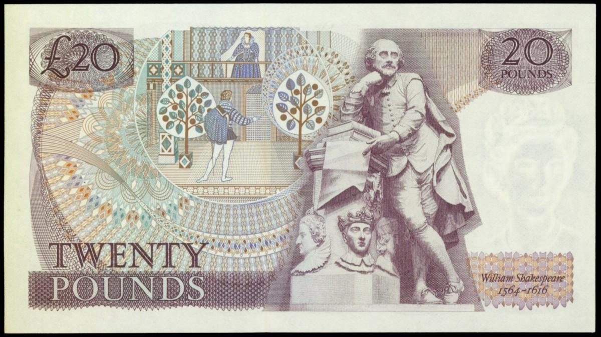 莎士比亞為人類留下豐富精神--以及物質--遺產。 圖片來源:worldbanknotescoins.com
