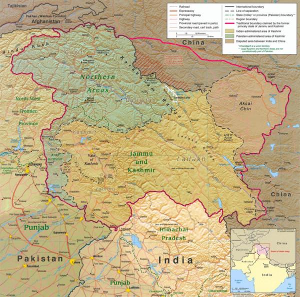 克什米爾地區由印度、巴基斯坦及中國分治。 圖片來源:維基百科