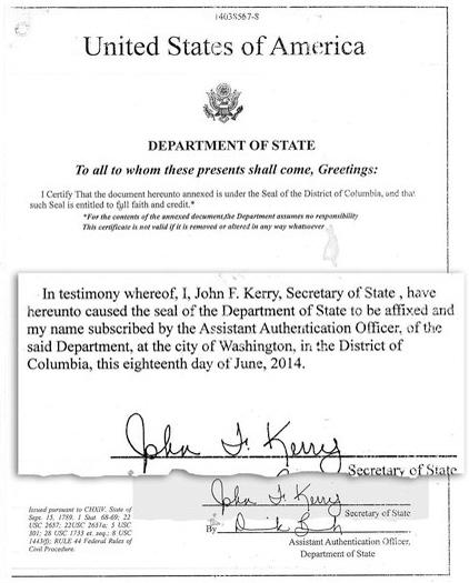 Axact 偽冒政府或大使館職員慫恿他人報讀課程,證書甚至附有美國國務卿克里的簽名。