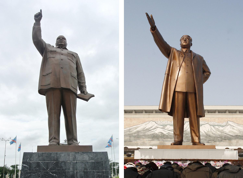 Laurent Kabila(左)和金日成(右)的雕像,地理位置相距十萬八千里,但由穿著到姿勢,幾乎都一模一樣。圖片來源:路透社