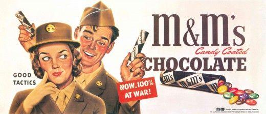M&M's 二戰時的廣告,於 1987 年重印。圖片來源:Pinterest