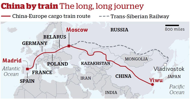 最長的鐵路:馬德里到浙江義烏鐵路全程 13000 公里。 圖片來源:skibbereen eagle