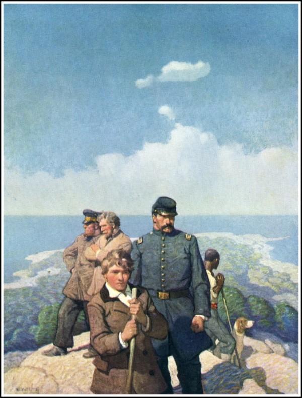 神秘島封面,作者 N. C. Wyeth