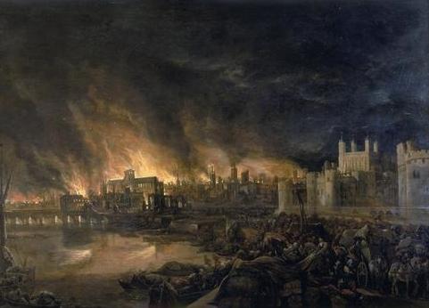 倫敦大火的局部畫作 圖片來源:wikicommons