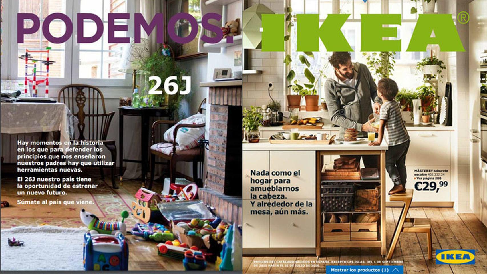 左邊的是 Podemos 的競選政綱,右邊的才是宜家的產品目錄,連封面設計都「仿」得十足十,認真誠意可加。