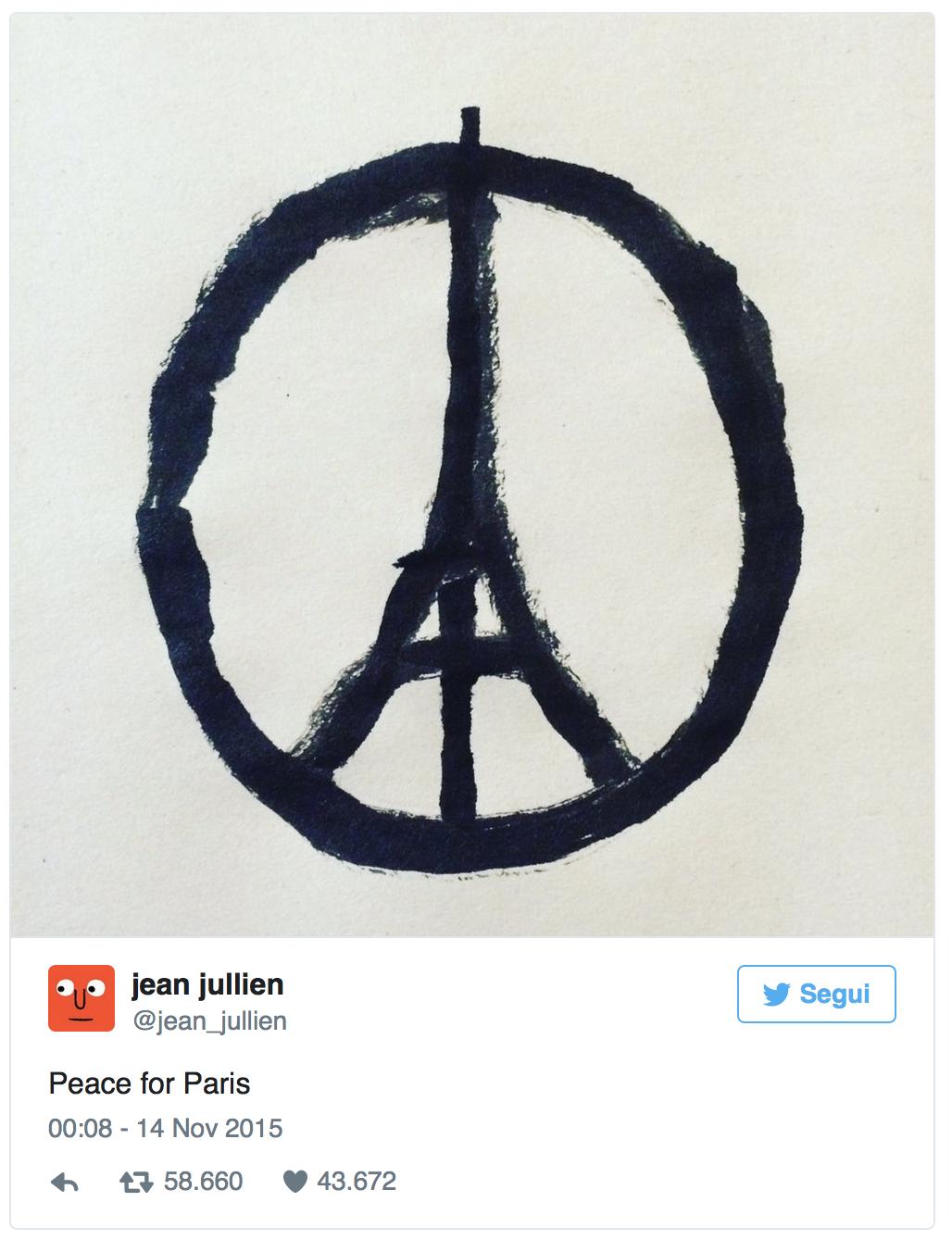 """悼念巴黎恐怖襲擊的 """"Peace For Paris"""" 標誌。圖片來源:Jean Jullien Twitter"""