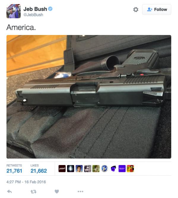 共和黨傑布布殊用一個字總結美國:槍。