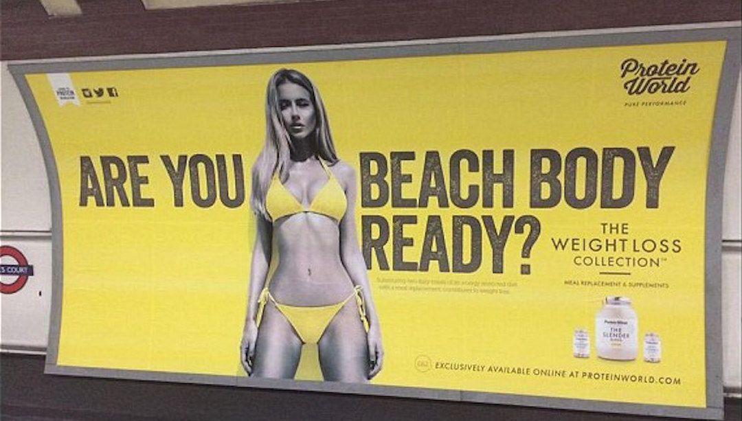 Protein World 帶來爭議和禁令的廣告。 圖片來源:Twitter 用戶 Seja75