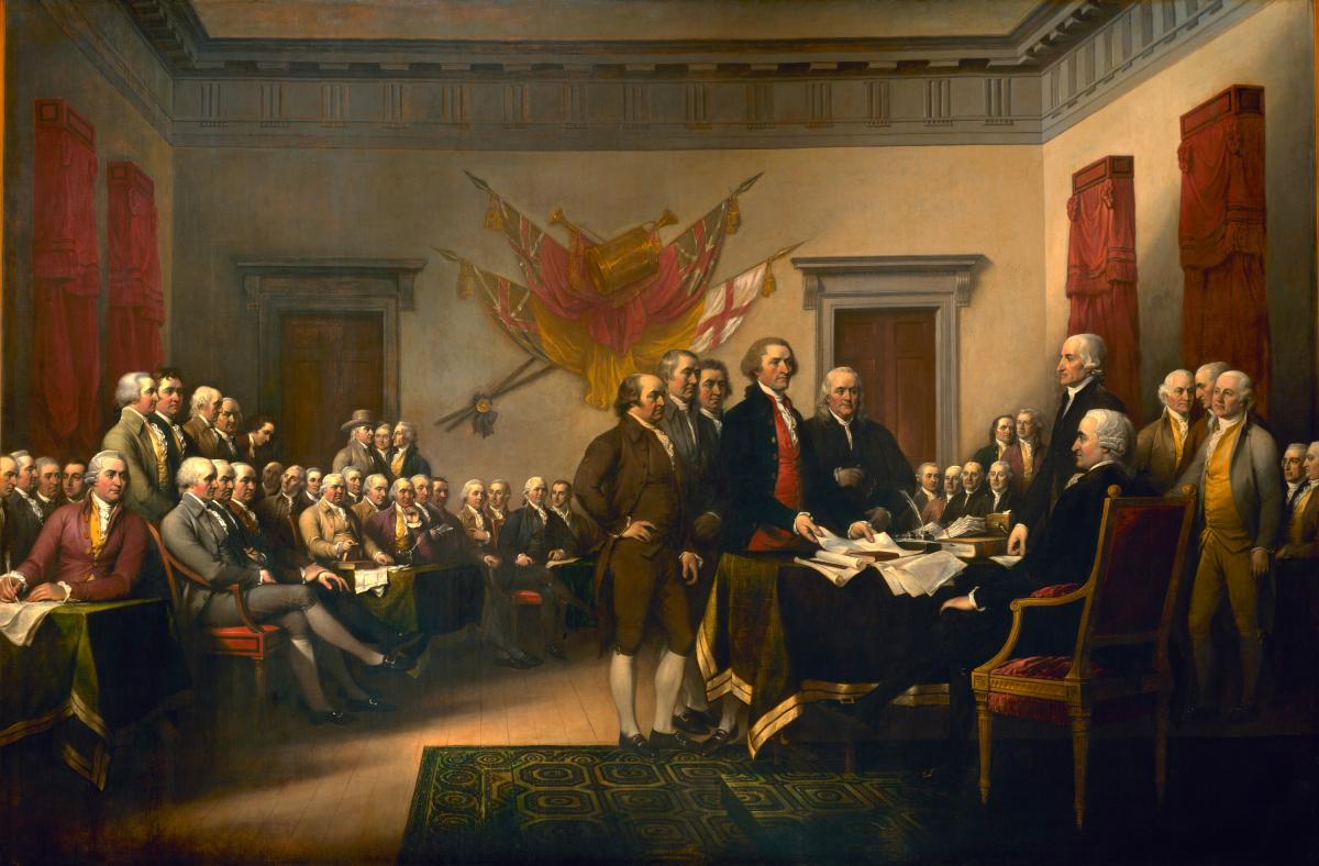 John Trumbull 所繪畫五人小組向大陸議會呈交獨立宣言的一刻。原畫放在美國國會大樓的圓形大廳。