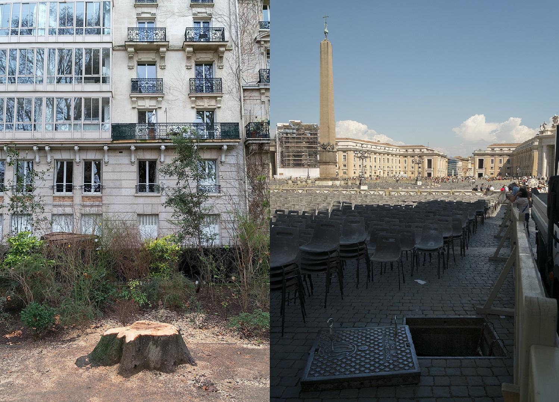 空無一人的巴稷鐵塔(左)和聖彼得大教堂(右)