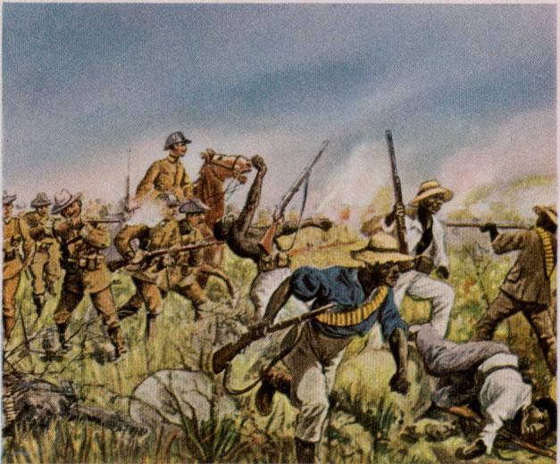 德軍正追殺赫雷羅族土著的畫作。 圖片來源:wikicommons