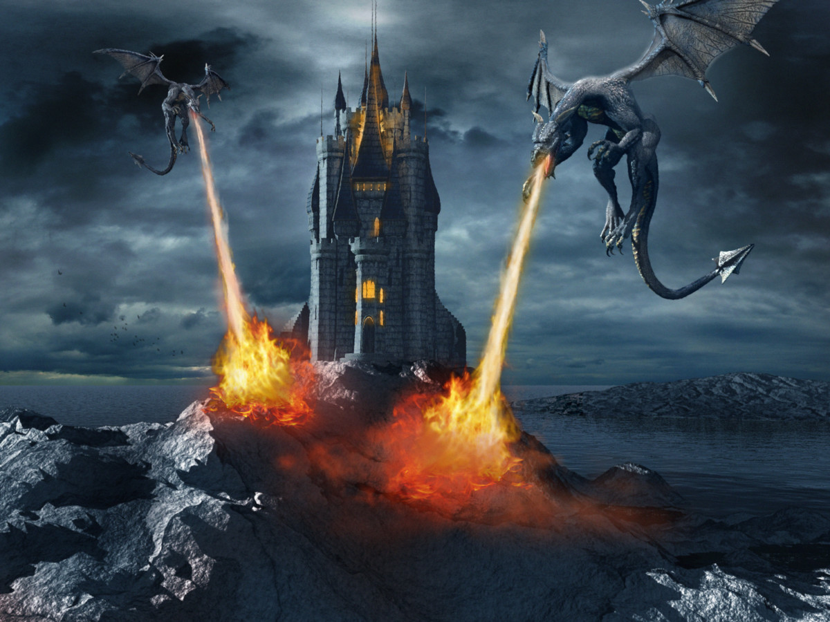 Night scene with dragons attacking fairytale castle