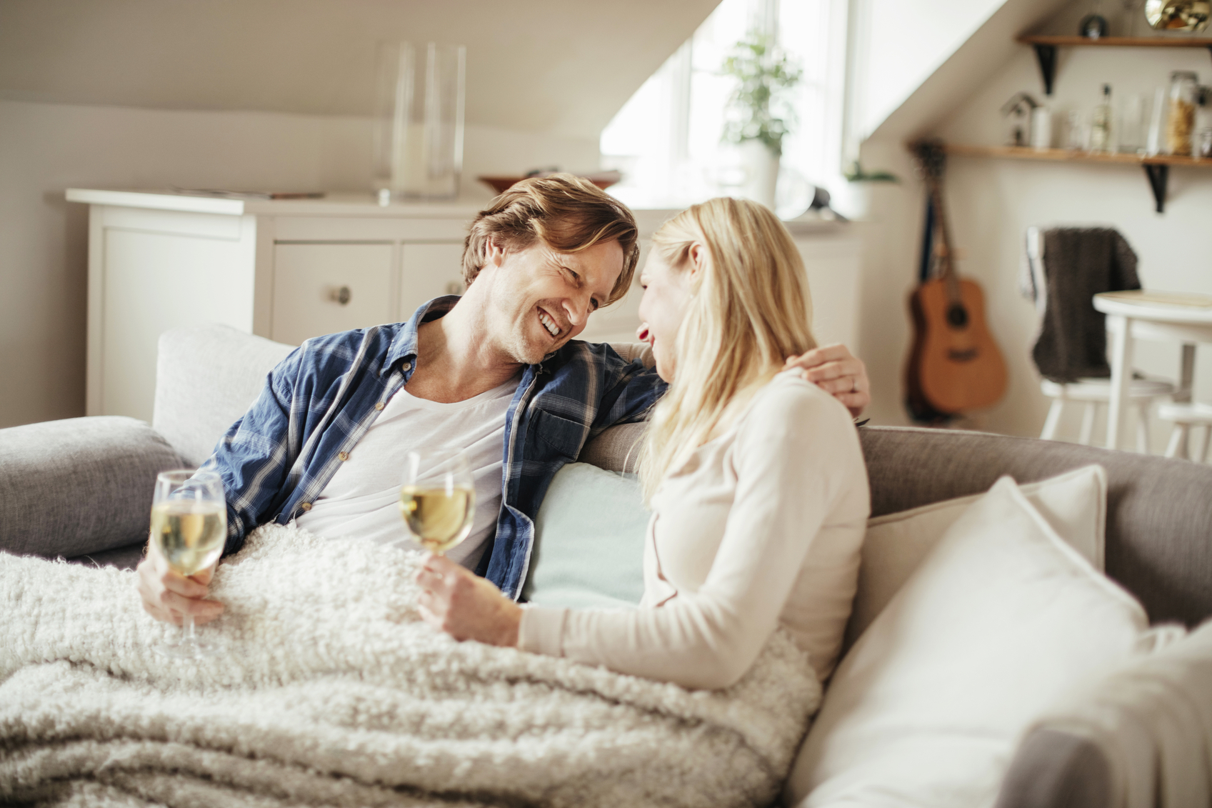 Mature couple enjoying time home