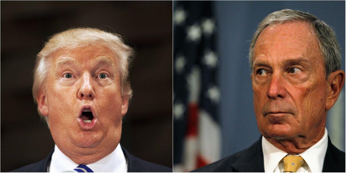 曾經老友鬼鬼,如今反目成仇,說的是紐約兩大富豪:杜林普與彭博。圖片來源:路透社