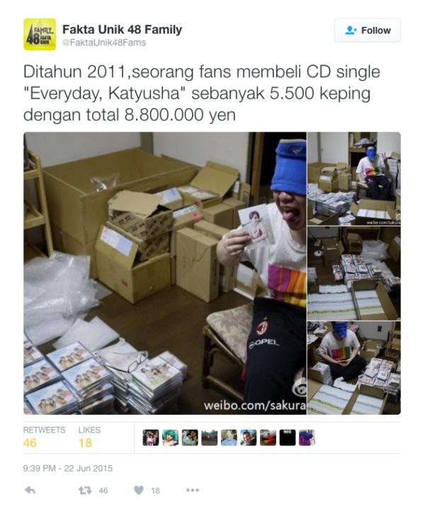 有 AKB48 粉絲購入數以百計的 CD,以表支持。 圖片來源:FaktaUnik48Fams/Twitter