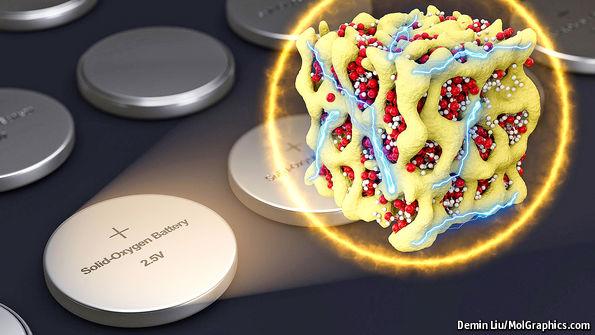 研究突破是使用超氧化鋰代替空氧,並將超氧化鋰嵌入鈷氧化物矩陣,以增加穩定性。(圖為矩陣意想圖) 圖片來源:經濟學人