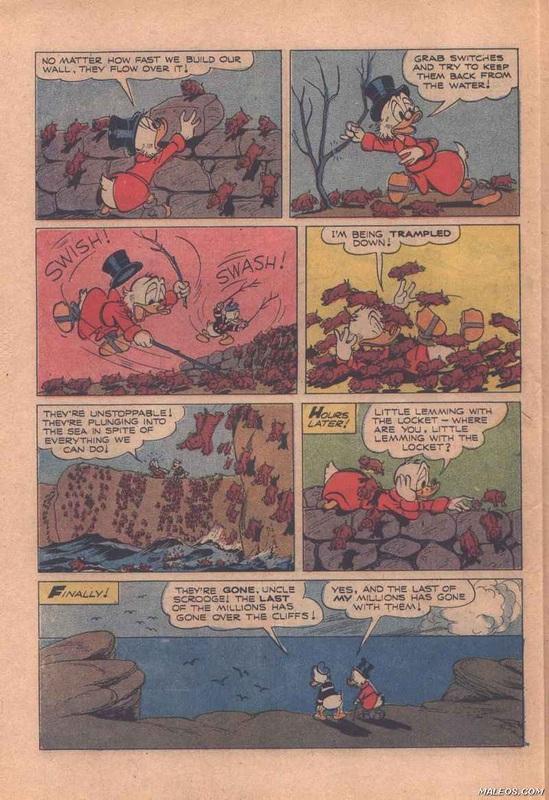 1955 年迪士尼將挪威旅鼠集體跳海「自殺」場面畫成卡通。