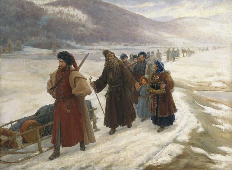 畫家 Sergei Dmitrievich Miloradovich 作品:The Road to Siberia (到西伯利亞的路上)。 圖片來源:wikicommons