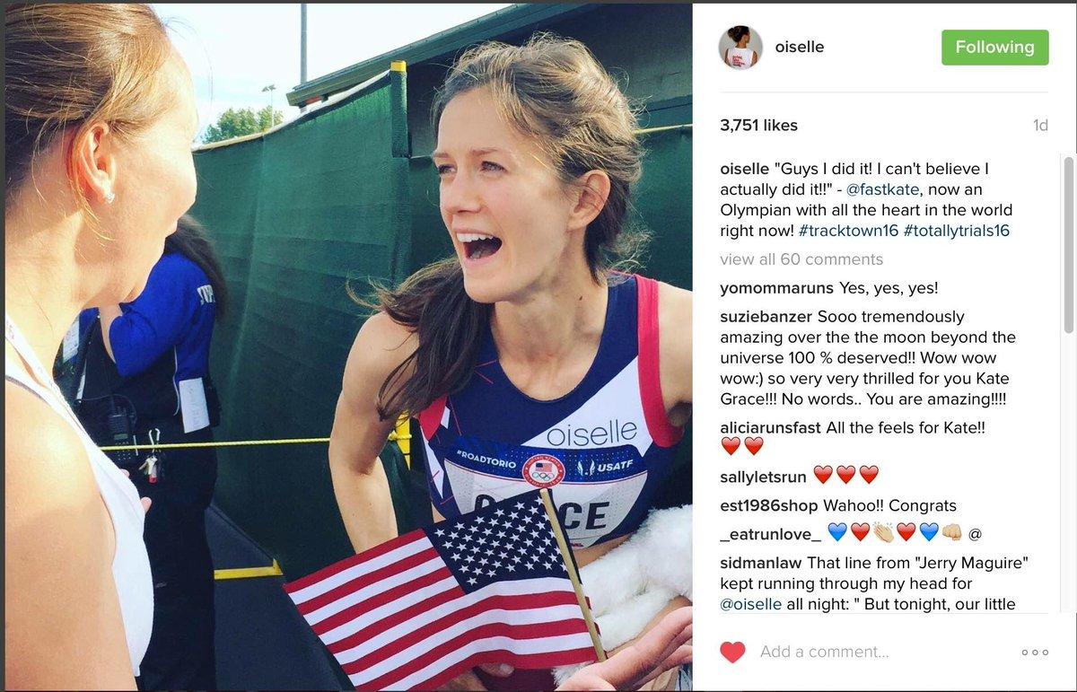 雖然選手 Kate Grace 身上的奧運標誌小得難以看見,但由於 Oiselle 並非官方贊助商,所以仍被美國奧委會要求刪相。圖片來源:oiselle/instagram