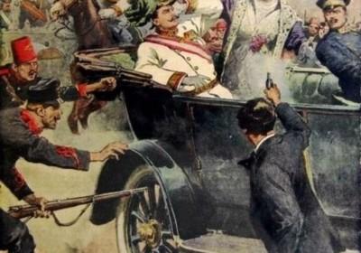 意大利報章「周日信使報」於 1914 年7 月 12 日出版的報紙上所刊登的刺殺事件插圖,由阿奇·貝爾特拉姆創作。圖片來源:wikipedia