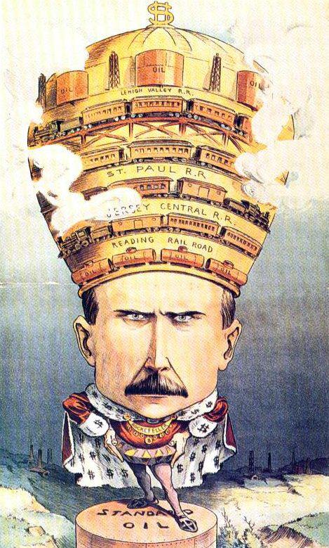 1901 年 Puck 雜誌漫畫中,洛克菲勒被描繪為資本皇帝。 圖片來源:Wikipedia