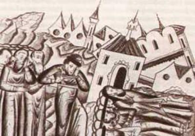 重返弗拉基米爾的雅羅斯拉夫·弗謝沃洛多維奇,俄羅斯中世紀版畫。圖片來源:wikipedia