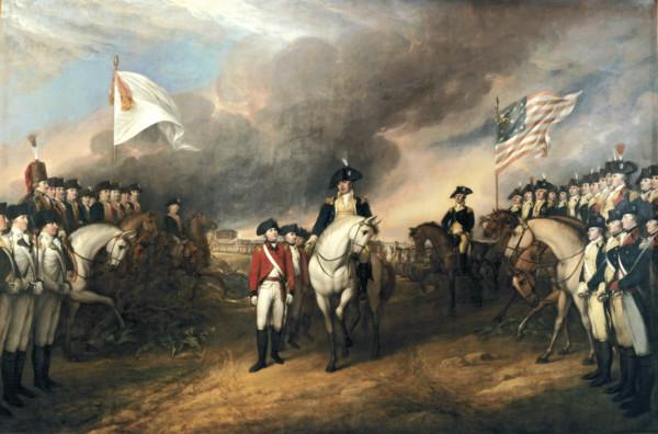 「Surrender of Lord Cornwallis」一畫描繪美國獨立戰爭中,英軍戰敗。
