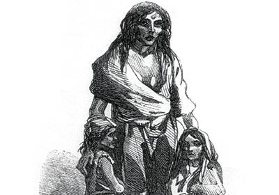 愛爾蘭大飢荒受害者的描繪。圖片來源:wikipedia