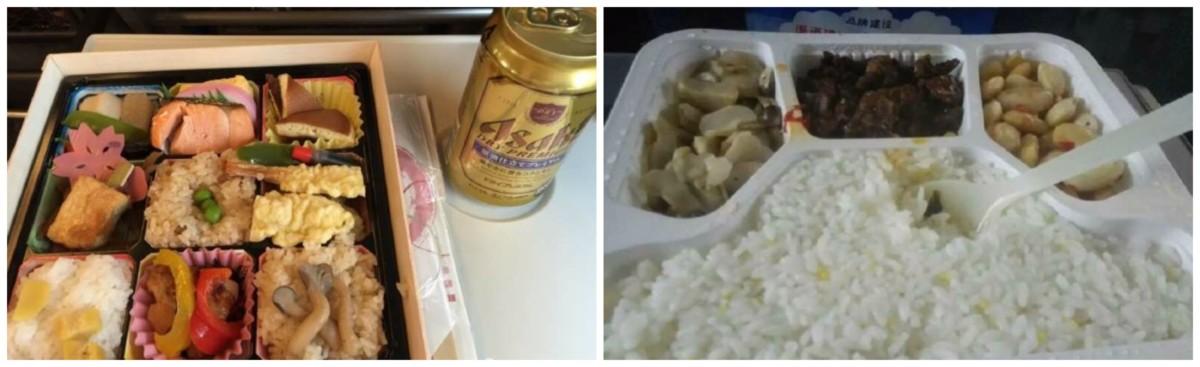 左:新幹線便當;右:高鐵飯盒 圖片來源:徐靜波微博