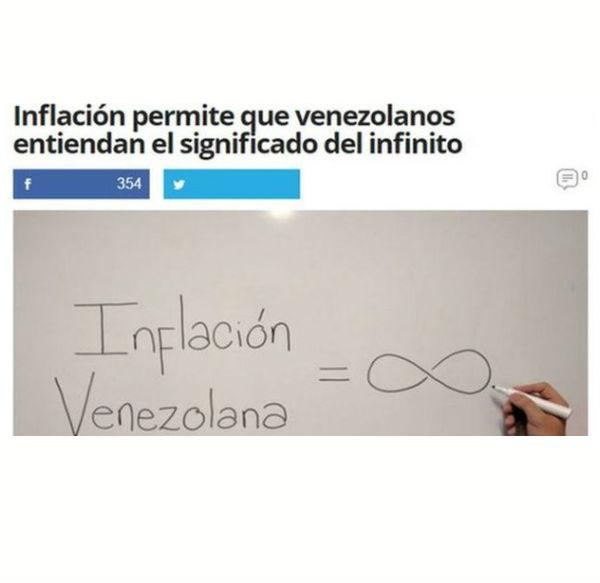 通貨膨脹大大幫助當地人理解「無限」的概念,因委內瑞拉的通脹率就是相等於「無限」。圖片來源:BBC