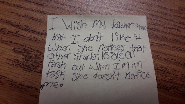 我希望我的老師知道,他只看到別人用功,但看不到我用功的時候,我很不開心。