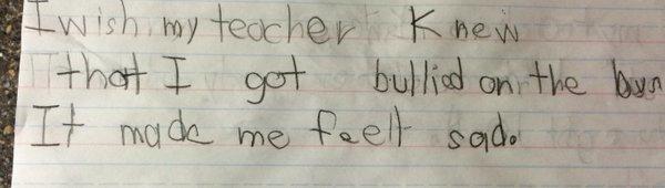 我希望我的老師知道,我被欺凌了,我很不開心。
