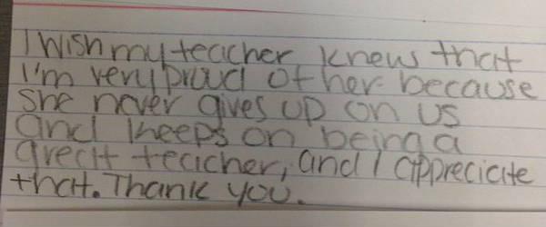 我希望我的老師知道,我以她為榮,因為她一直是一個好老師,從未放棄過我們,謝謝。