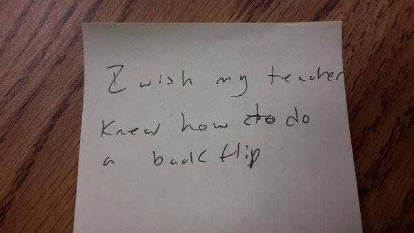 我希望我的老師知道……怎樣做後空翻。
