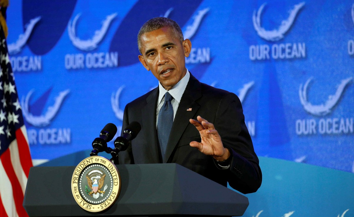 奧巴馬出席 Our Ocean Conference,並上台致詞。(圖片來源:Reuters)